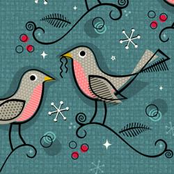 Robins In Winter  by studioxtine Pink  Vintage Blue Stars Retro Birds Winter Linen Cotton Canvas Tea Towel by Spoonflower Bird Tea Towel